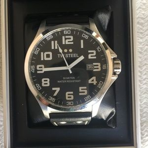 TW Steel Black leather watch